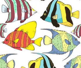 Coral fish hand drawn vector seamless pattern 19