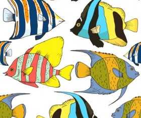 Coral fish hand drawn vector seamless pattern 20