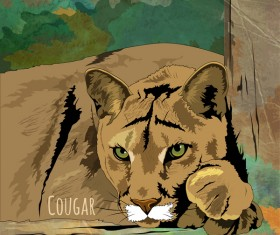 Cougar hand drawn vector