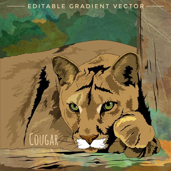 Cougar hand drawn vector