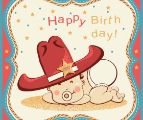 Cowboy party birthday vector