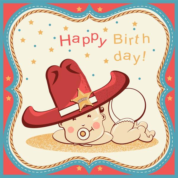 Cowboy party birthday vector