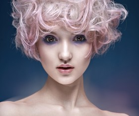 Cute girl with pink hair HD picture 01