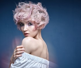 Cute girl with pink hair HD picture 02