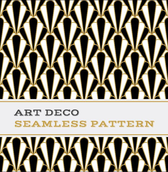 Deco seamless pattern black white and golden vector 01