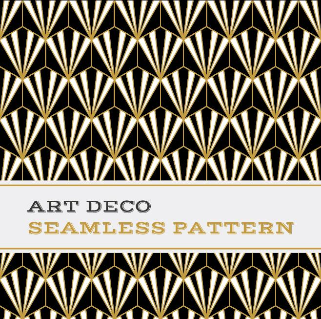 Deco seamless pattern black white and golden vector 02