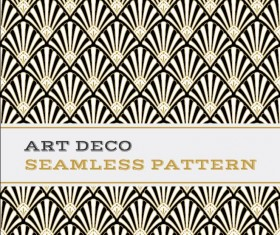 Deco seamless pattern black white and golden vector 03
