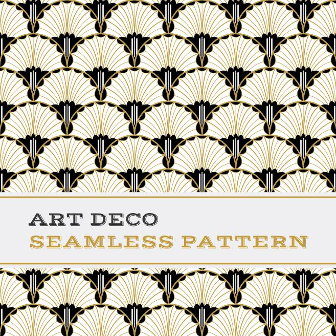 Deco seamless pattern black white and golden vector 04