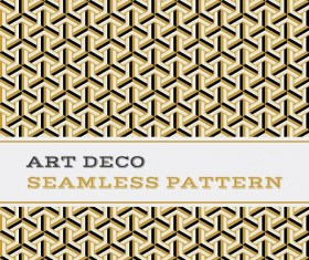Deco seamless pattern black white and golden vector 05