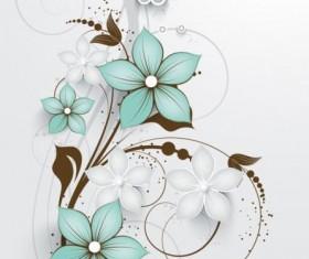 Decorative flower curls design vector background 01