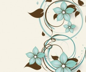Decorative flower curls design vector background 03