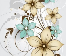 Decorative flower curls design vector background 05