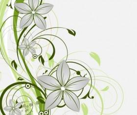 Decorative flower curls design vector background 06