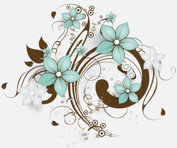 Decorative flower curls design vector background 08