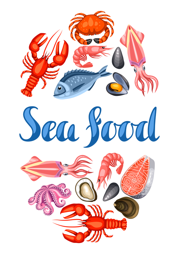Different seafood illustration vector 01
