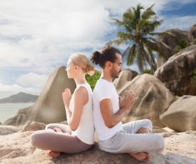 Do yoga woman with man Stock Photo 01