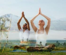 Do yoga woman with man Stock Photo 02