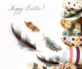 Easter background with bird nest eggs and feathers vector 02