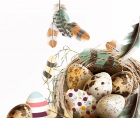Easter background with bird nest eggs and feathers vector 04