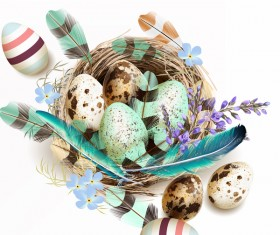 Easter background with bird nest eggs and feathers vector 05