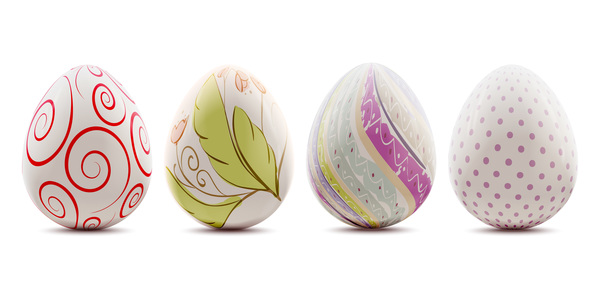 Easter background with decorated eggs isolated