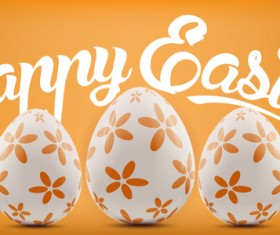 Easter background with decorated eggs vector 04
