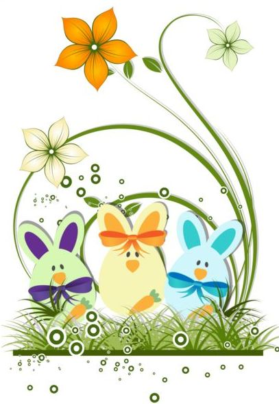 Easter background with decorative flower vector 01