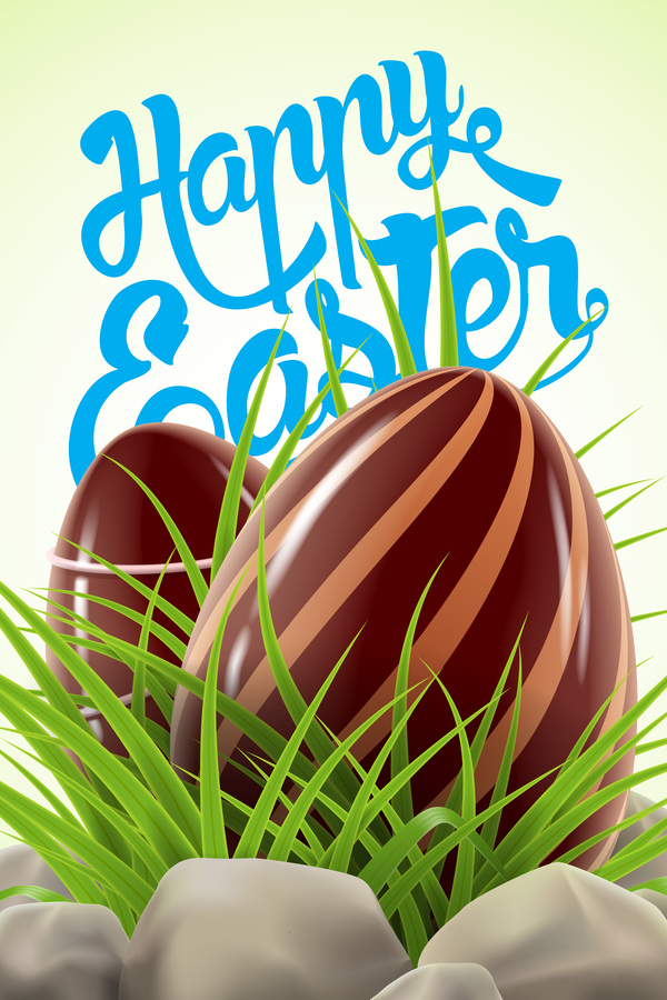 Easter card with chocolate egg vector 01