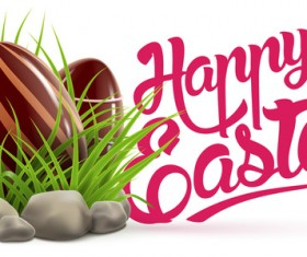 Easter card with chocolate egg vector 02