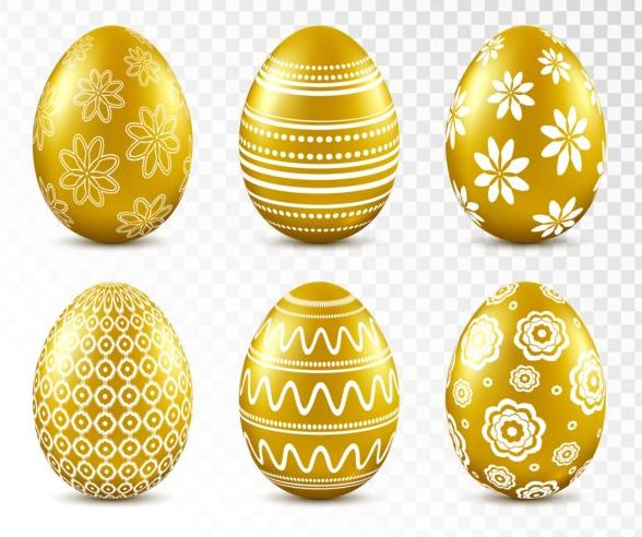 Easter card with golden eggs vector 01