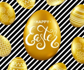 Easter card with golden eggs vector 02