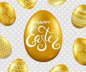 Easter card with golden eggs vector 03