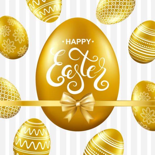 Easter card with golden eggs vector 04