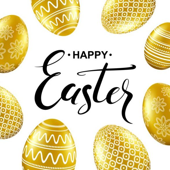 Easter card with golden eggs vector 05