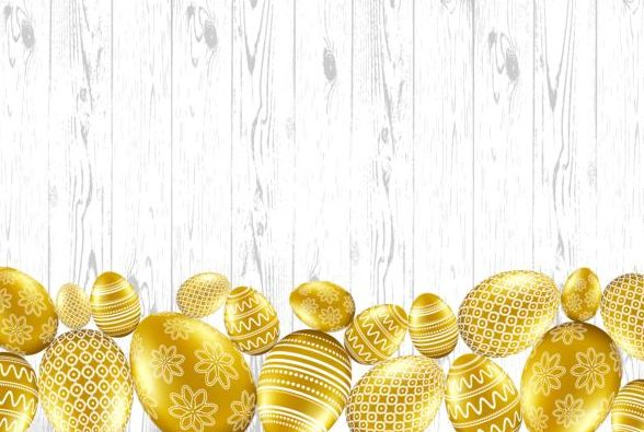 Easter card with golden eggs vector 06