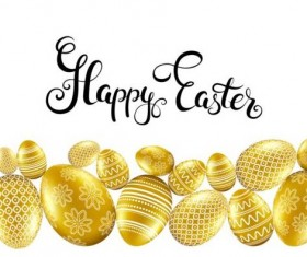 Easter card with golden eggs vector 07