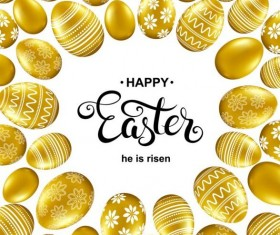 Easter card with golden eggs vector 08