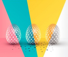 /Easter egg with colored easter background vector 01