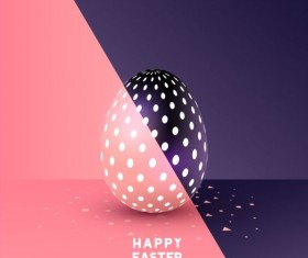 Easter egg with colored easter background vector 02