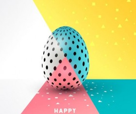 Easter egg with colored easter background vector 03