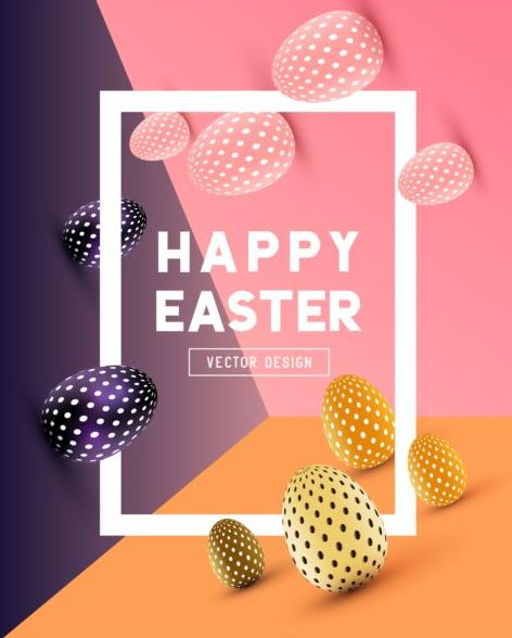 Easter egg with frame and colored background vector 01