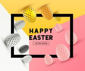 Easter egg with frame and colored background vector 02