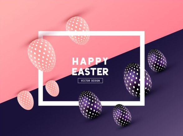 Easter egg with frame and colored background vector 03