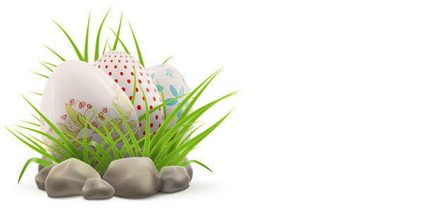 Easter postcard with decorated eggs and green grass vector 01