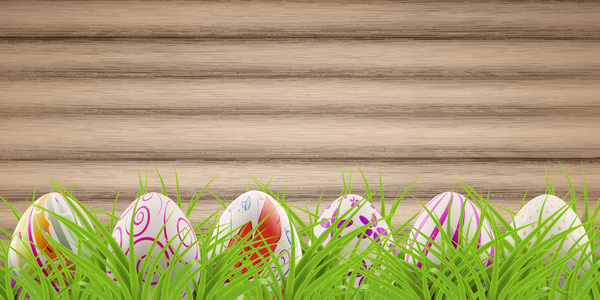 Easter postcard with decorated eggs and green grass vector 02