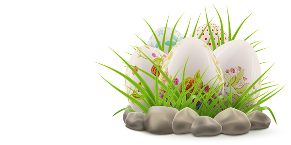 Easter postcard with decorated eggs and green grass vector 04