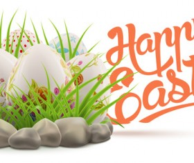 Easter postcard with decorated eggs and green grass vector 05