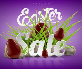Easter sale advertising background with chocolate eggs vector 01
