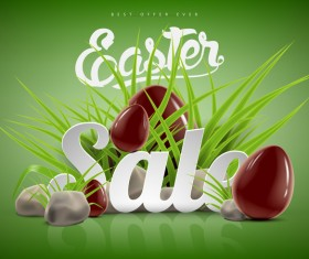 Easter sale advertising background with chocolate eggs vector 02