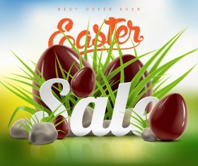 Easter sale advertising background with chocolate eggs vector 03